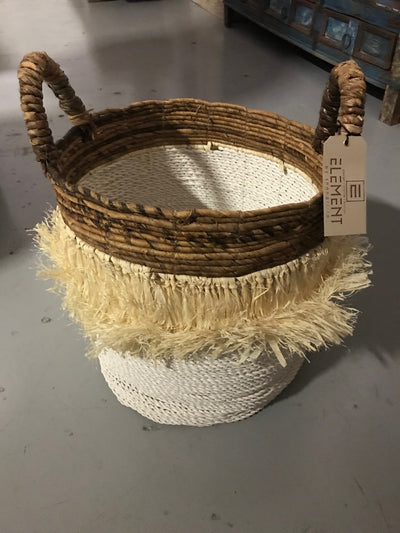 Round Natural Banana Fiber Woven Basket with Tassel - Small Size from Three Piece Set