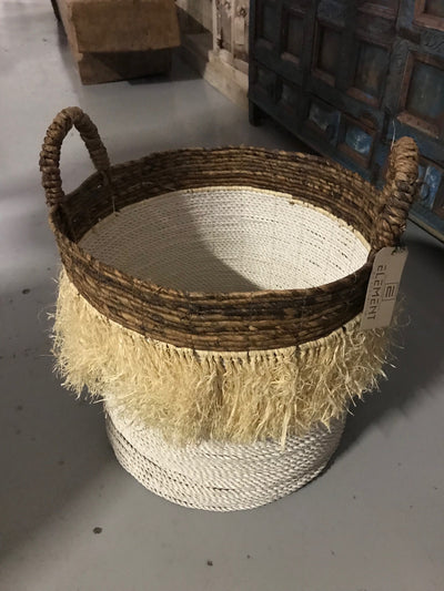 Round Natural Banana Fiber Woven Basket with Tassel - Large Size from Three Piece Set