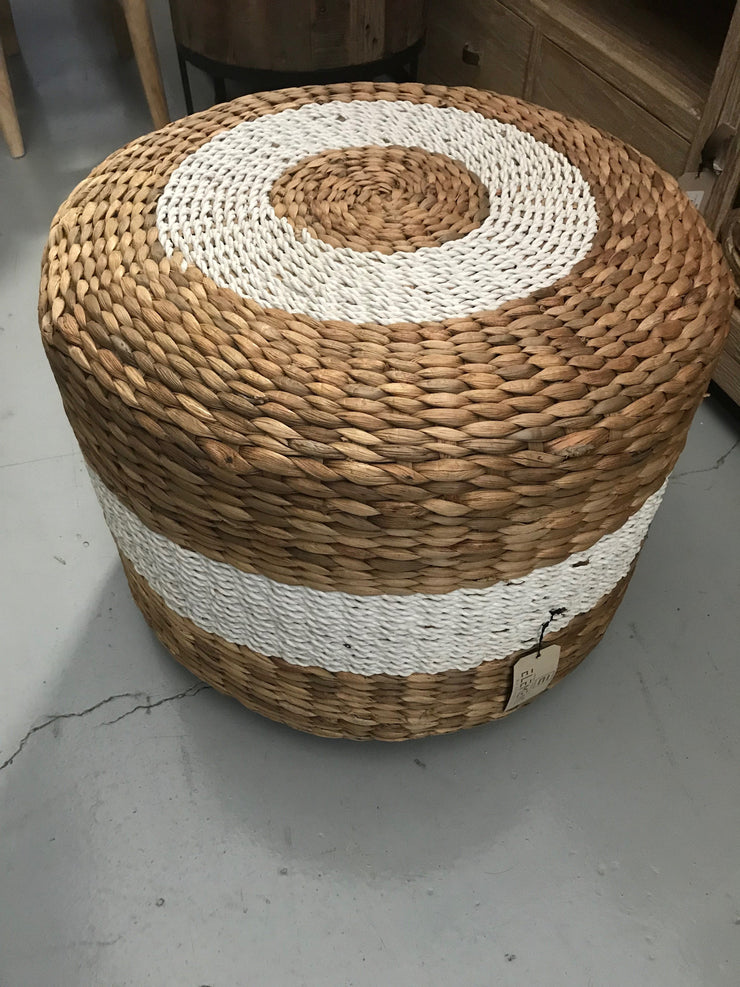White Natural Hyacinth Fiber Woven Drumb Stool