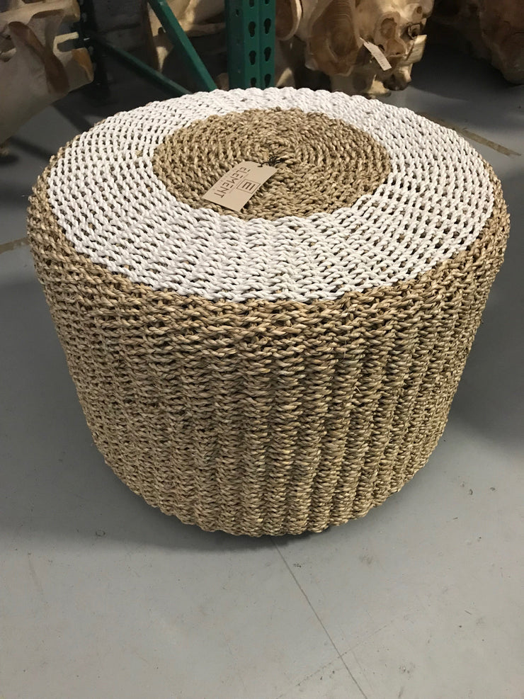 White Natural Seagrass Fiber Woven Drum Stool