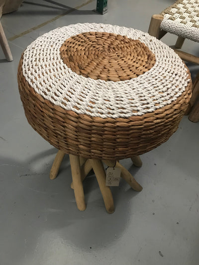 White Natural Seagrass Fiber Woven Stool with Octopus Legs