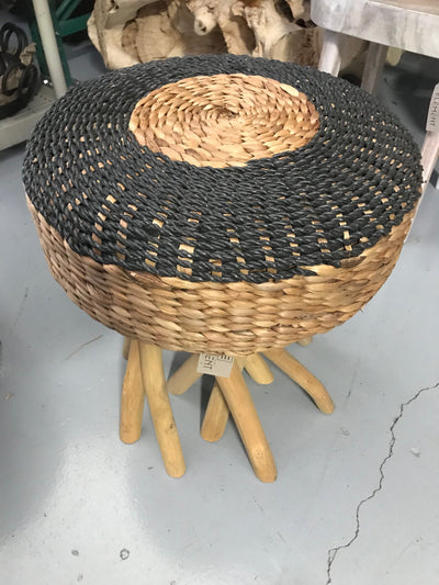 Black Natural Seagrass Fiber Woven Stool with Octopus Legs