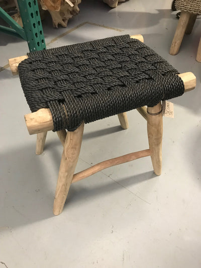 Black Natural Fiber Woven Rectangular Stool