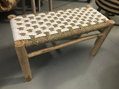 Long White Natural Seagrass Fiber Woven Stool