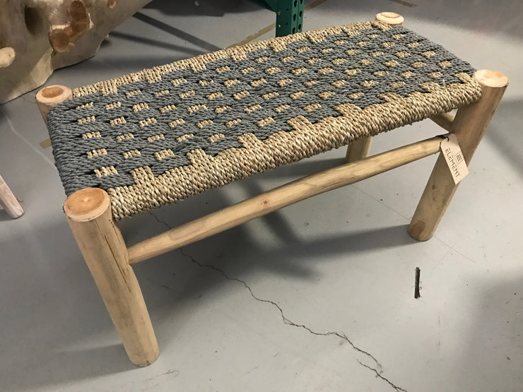 Long Grey Natural Seagrass Fiber Woven Stool