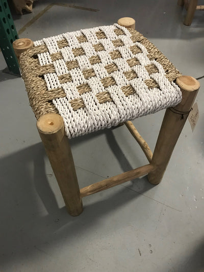 Square White Natural Seagrass Fiber Woven Stool