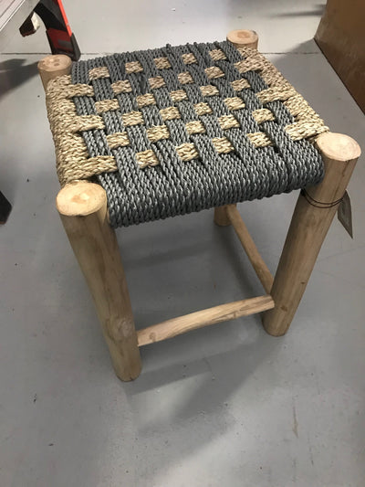 Square Grey Natural Seagrass Fiber Woven Stool