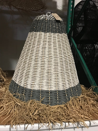 Grey and White Natural Fiber Woven Lamp Shade with Tassel