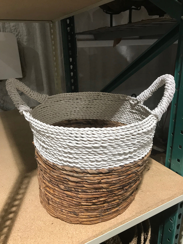 Round Natural Fiber Woven Basket - Small Size from Four Piece Set
