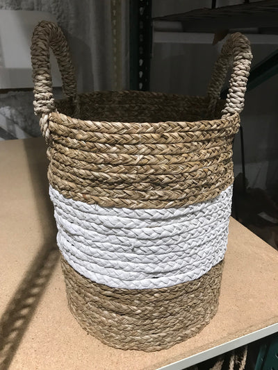White and Tan Natural Fiber Woven Laundry Basket - Small Size from Four Piece Set