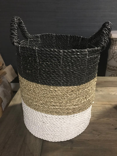 Black, White, and Tan Natural Fiber Woven Laundry Basket - Small Size from Four Piece Set