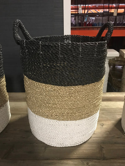 Black, White, and Tan Natural Fiber Woven Laundry Basket - Large Size from Four Piece Set