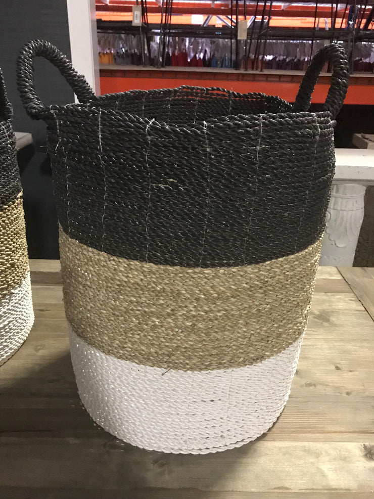Black, White, and Tan Natural Fiber Woven Laundry Basket - Extra Large Size from Four Piece Set