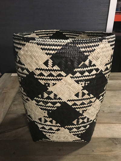 Black and Tan Natural Fiber Woven Laundry Basket - Small Size from Three Piece Set