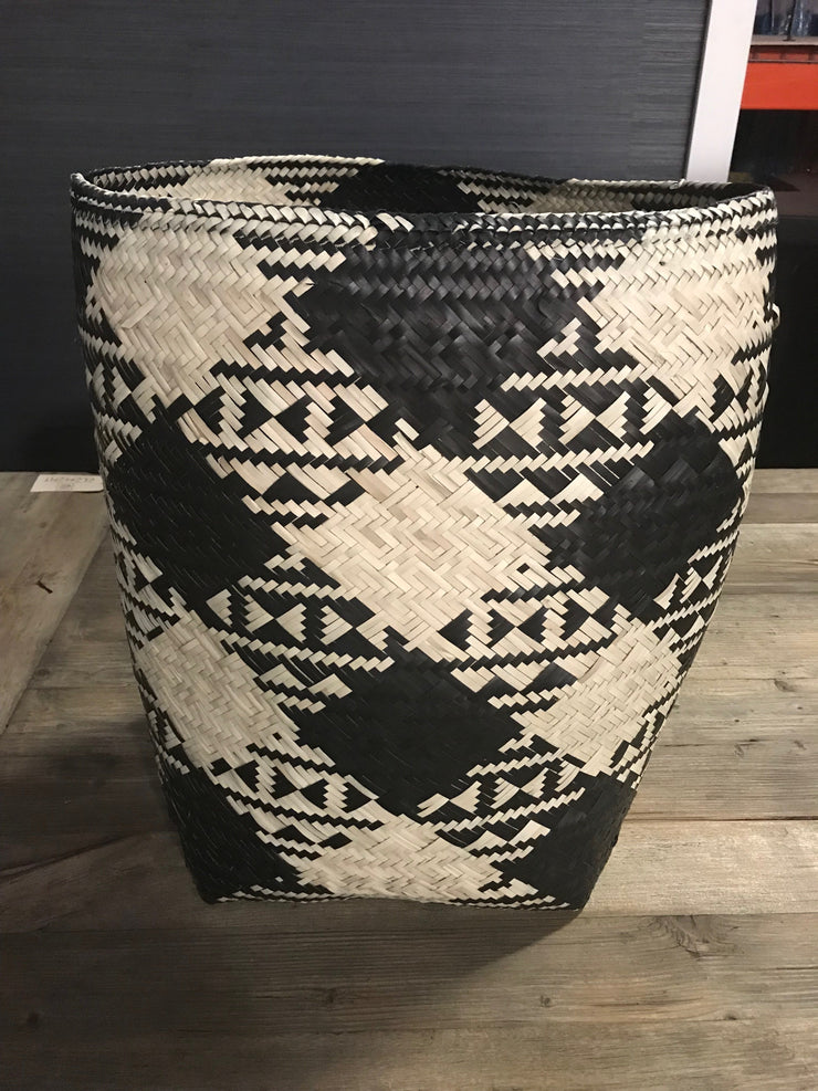 Black and Tan Natural Fiber Woven Laundry Basket - Medium Size from Three Piece Set