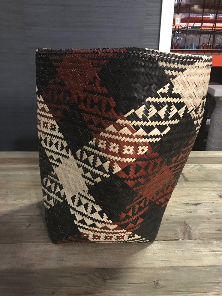 Black, Red, and Tan Natural Fiber Woven Laundry Basket - Small Size from Three Piece Set