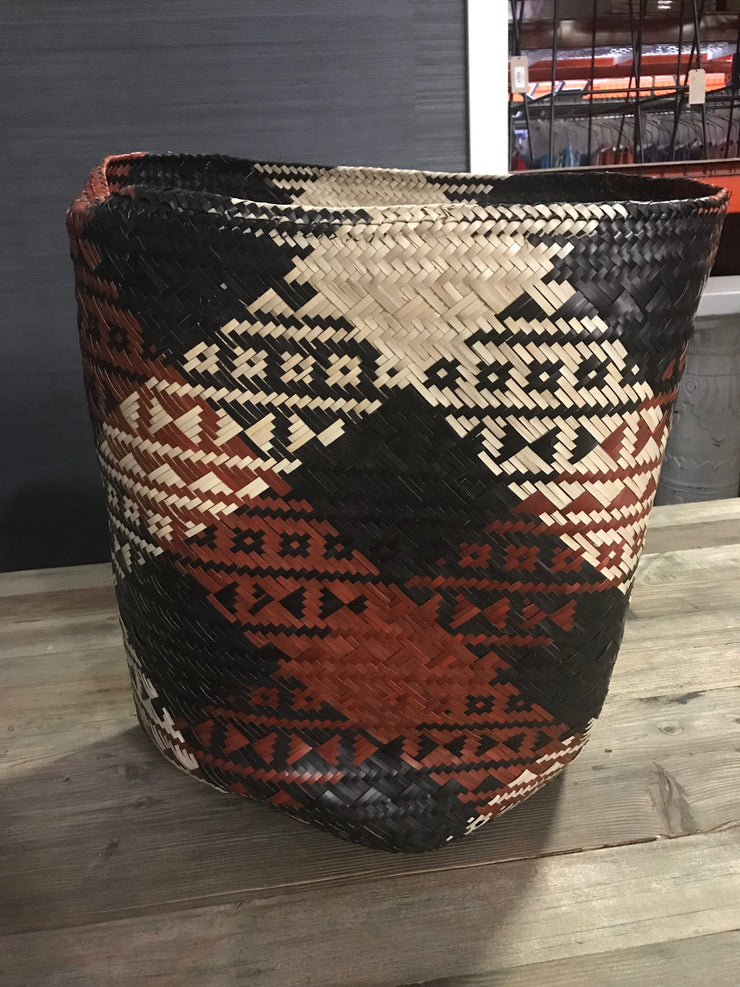 Black, Red, and Tan Natural Fiber Woven Laundry Basket - Medium Size from Three Piece Set