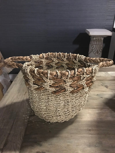 Natural Fiber Woven Basket with Handles - Small Size from Two Piece Set