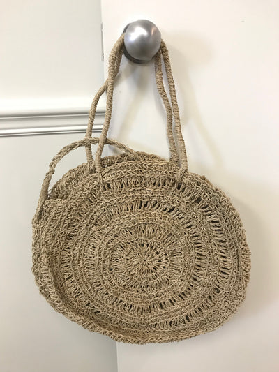 Circular Natural Fiber Woven Bag