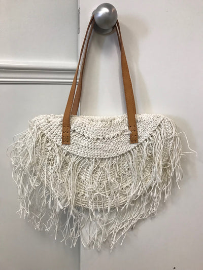 Natural Fiber Woven White Bag with Tassel