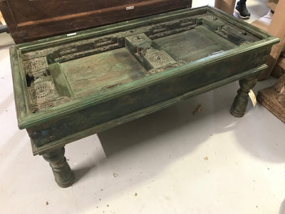 Green Wooden Coffee Table with Clear Top
