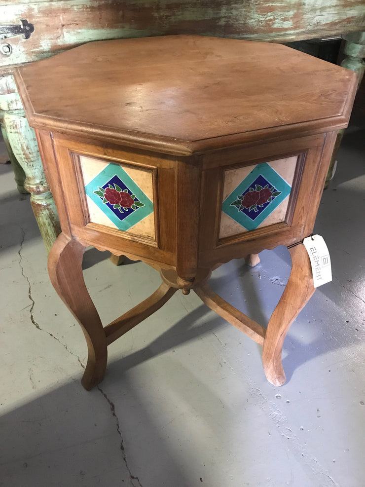 Wooden Side Table with Painting