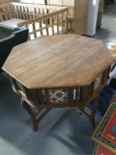 Wooden Dining Table with Painting