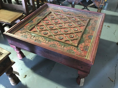 Red Wooden Coffee Table