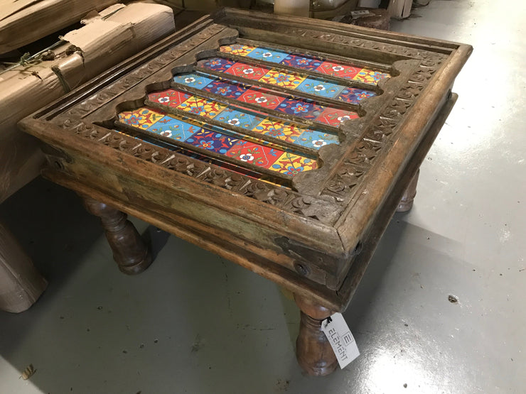 Wooden Side Table with Painting on Top