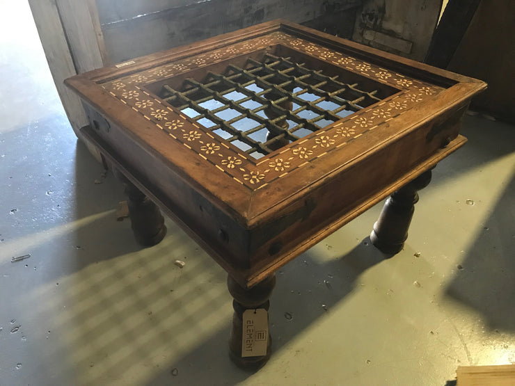 Square Wooden Side Table with Bordering Design