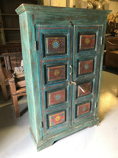 Blue and Red Wooden Almirah Cabinet with Two Doors