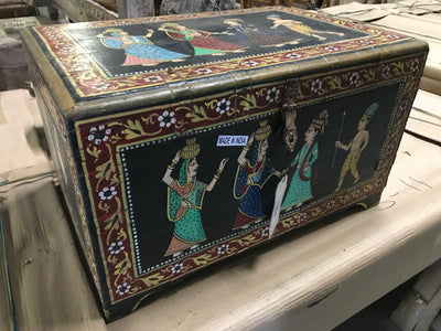 Colorful Painted Wooden Trunk