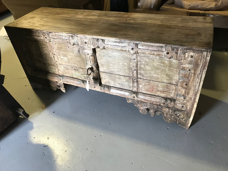 Long Thick Wooden Console Table with Carving