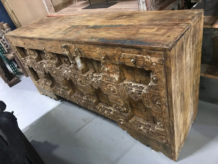 Large Wooden Console Table with Carving