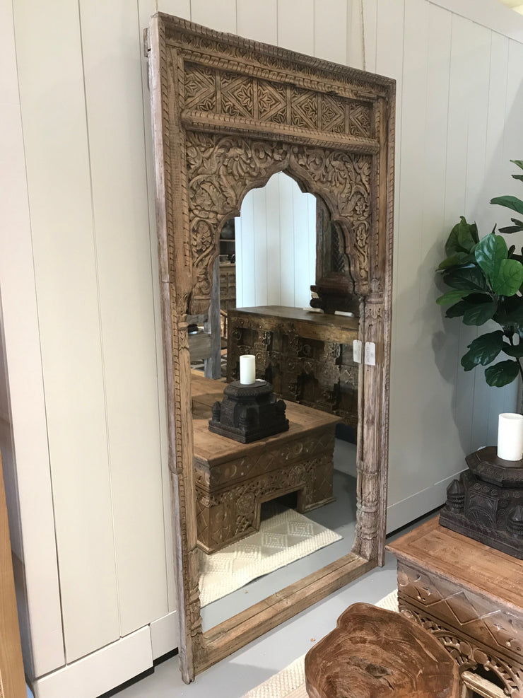 Mirror with Carving and Wooden Frame