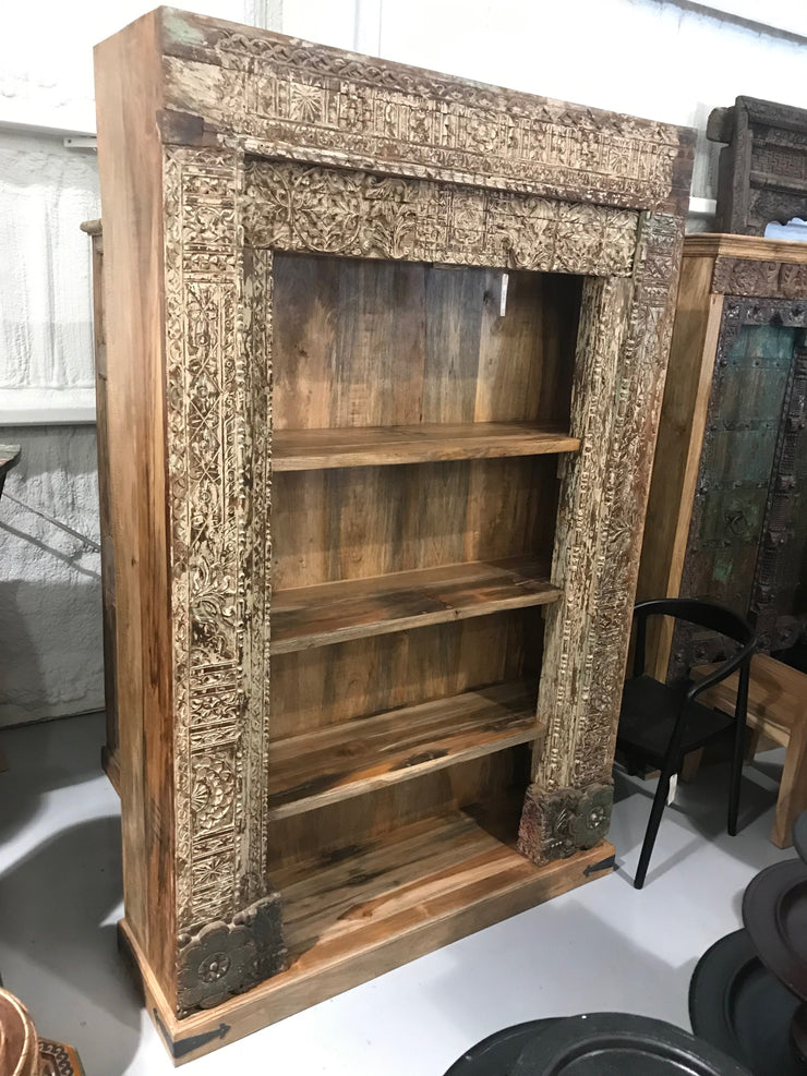 Wooden Bookcase with Carving and Four Shelves