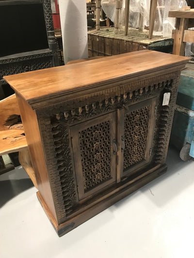 Small Wooden Sideboard with Carving and Two Doors
