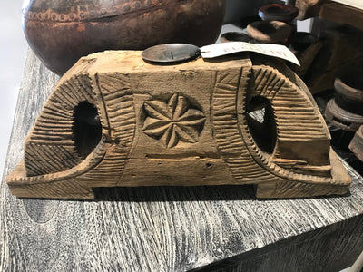 Wooden Candle Holder with Carving