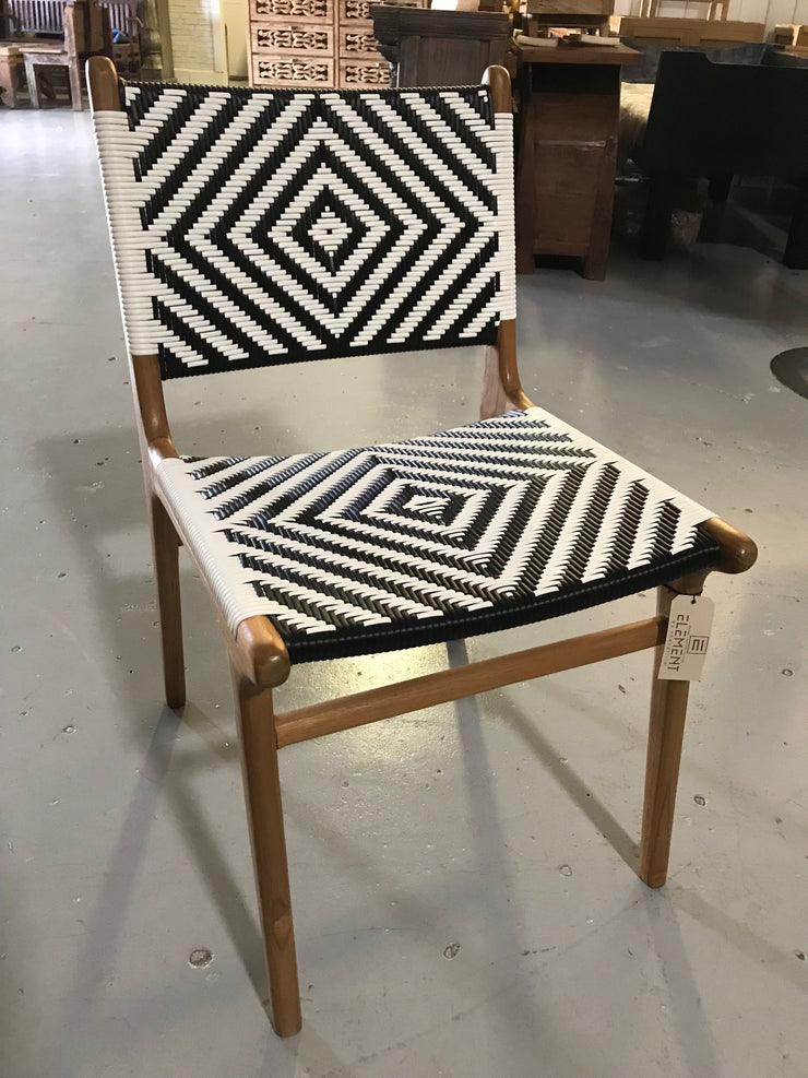 Synthetic Black and White Leather and Unfinished Wooden Diana Chair