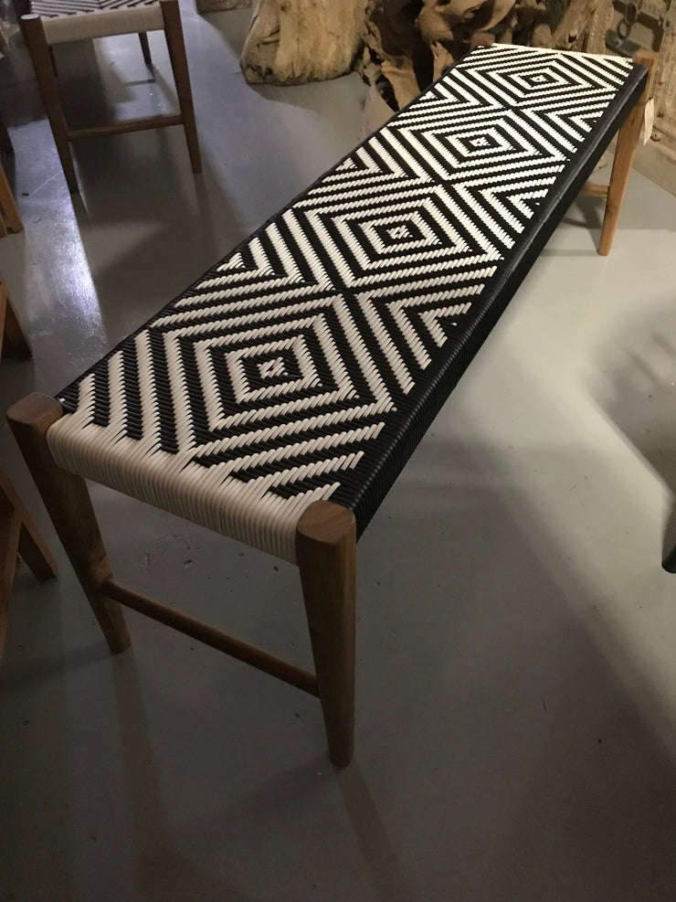 Synthetic Black and White Leather and Unfinished Wooden Long Bench