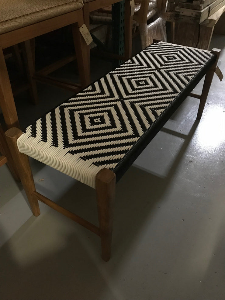 Synthetic Black and White Leather and Unfinished Wooden Short Bench