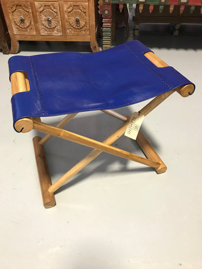 Navy Blue Leather and Unfinished Wooden Luggage Stool