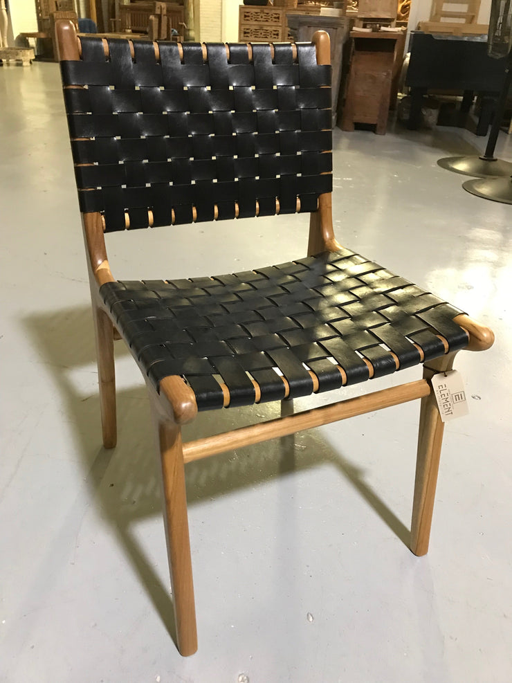 Black Leather and Unfinished Wooden Diana Woven Chair