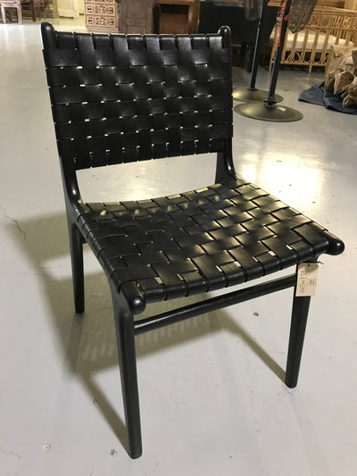 Black Leather and Black Wooden Diana Woven Chair
