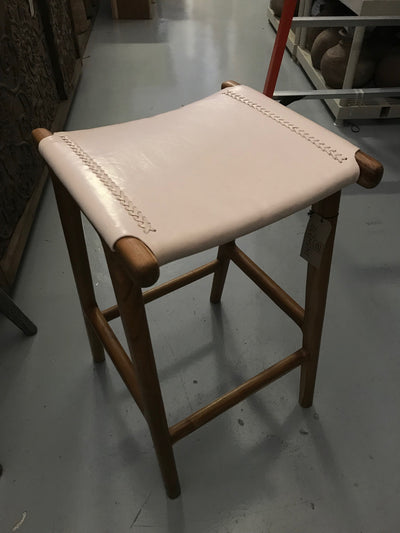 Natural Leather and Unfinished Wooden Flat Barstool