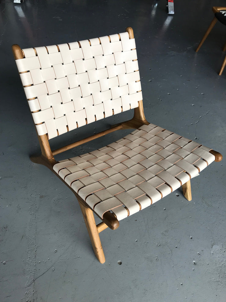Natural Leather and Unfinished Wooden Marlboro Woven Chair