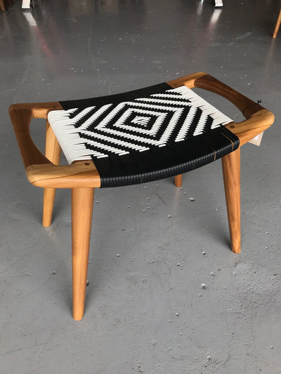 Synthetic Black and White Leather and Unfinished Wooden Tello Stool