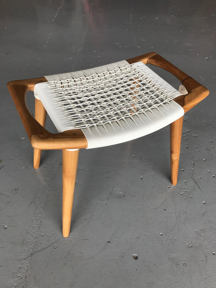 Synthetic White Leather and Unfinished Wooden Tello Stool