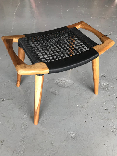 Synthetic Black Leather and Unfinished Wooden Tello Stool