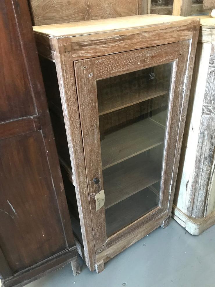 Small Wooden and Glass Cabinet with Four Shelves and One Door